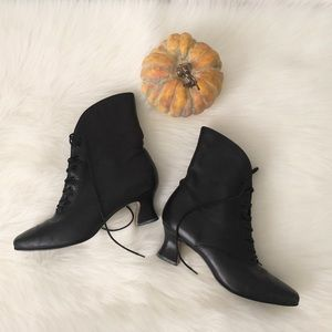 Nine West Black Leather Witch Boots Costume